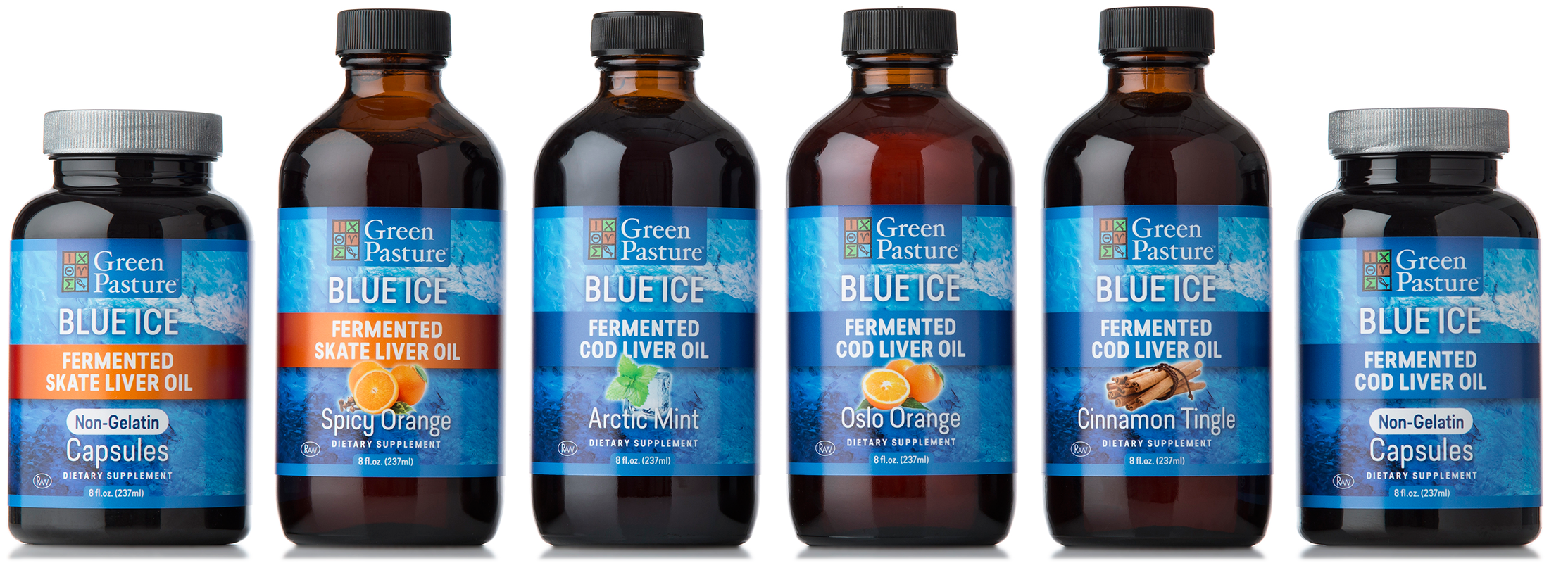 Label Packaging for Green Pasture: Blue Ice Fermented Cod & Skate Oil